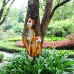 Painted on a tree trunk shy Lemurs. Creative street art by unknown artists in the city of Guilin