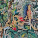 Birds in the tree. Painted with granulated colored sand. Japanese artist Ako Tsubaki