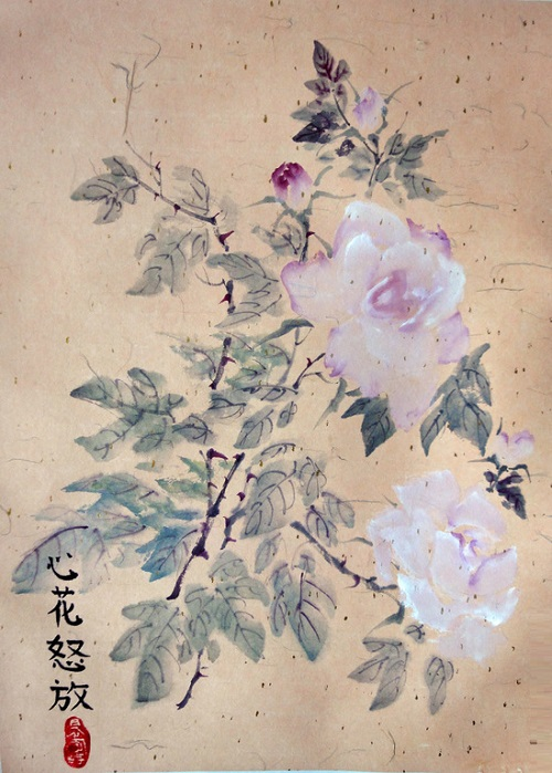 Chinese wisdom in painting. Pink roses