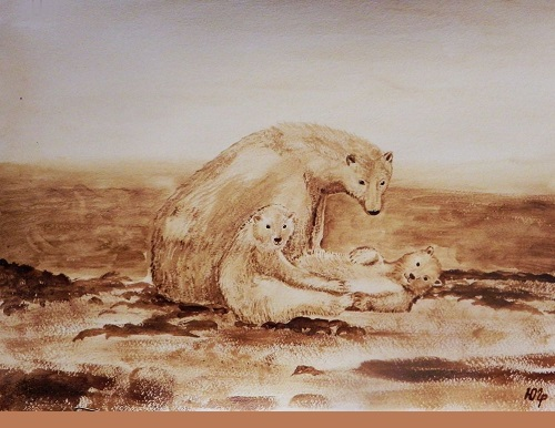Polar Bears. Julia Latte coffee painting