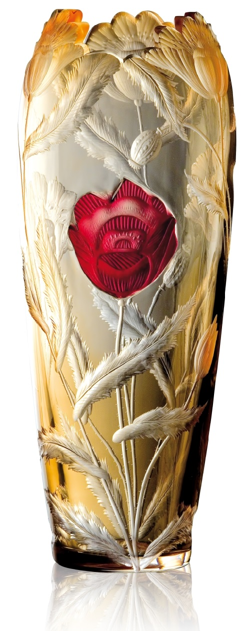 Poppy, hand cut and engraved underlay vase with a fusion