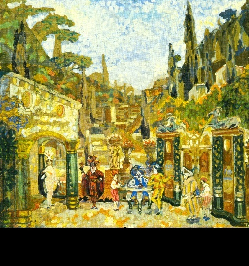 Sergei Sudelkin. Set design for Benavente's The SeamySide of Life (St. Petersburg, Russian Drama Theater). 1912. Tempera on cardboard. Picture Gallery of Armenia, Yerevan