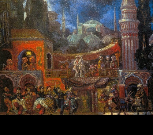 Amusements for Virgins (St. Petersburg, Maly Drama Theater). Set design by Sergei Sudelkin. 1911. Oil on canvas. Museum of Russian Art, Kiev