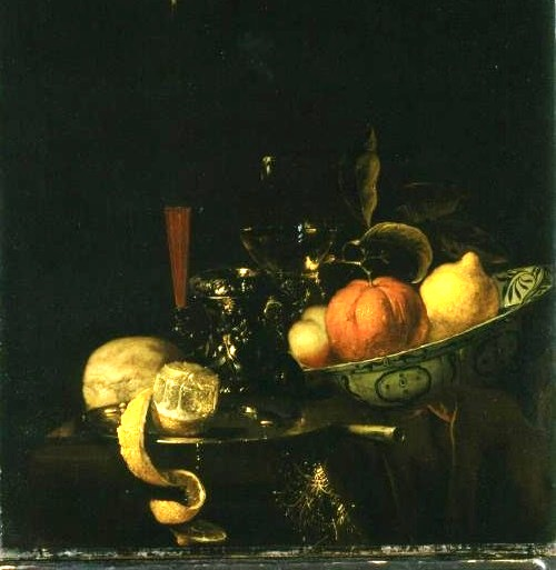Still Life (orange, lemon and wine in the glass). 1670. Juriaen van Streeck