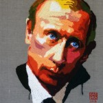 Russian president Vladimir Putin. 2015. Crochet portrait on canvas