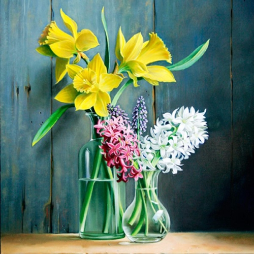 Daffodils and lilacs. Still life painting by Pieter Wagemans