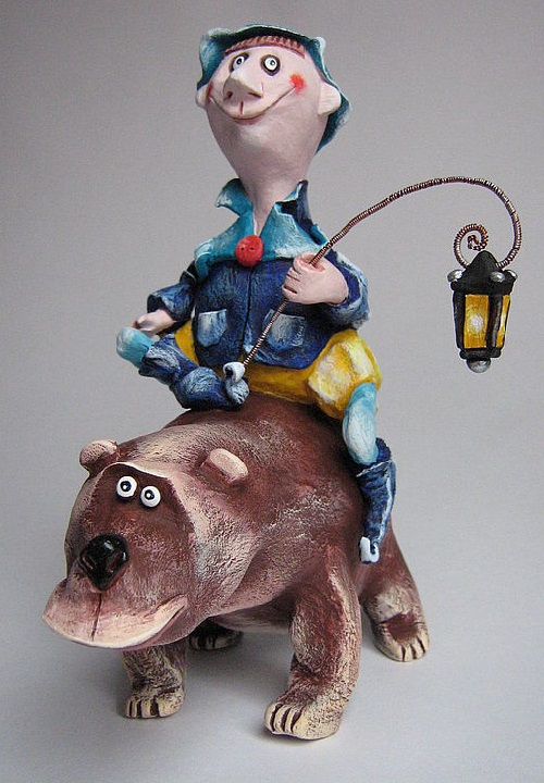 Adam Jolly lamplighter with his friend bear. The work is completely done by hand without the use of preprinted forms