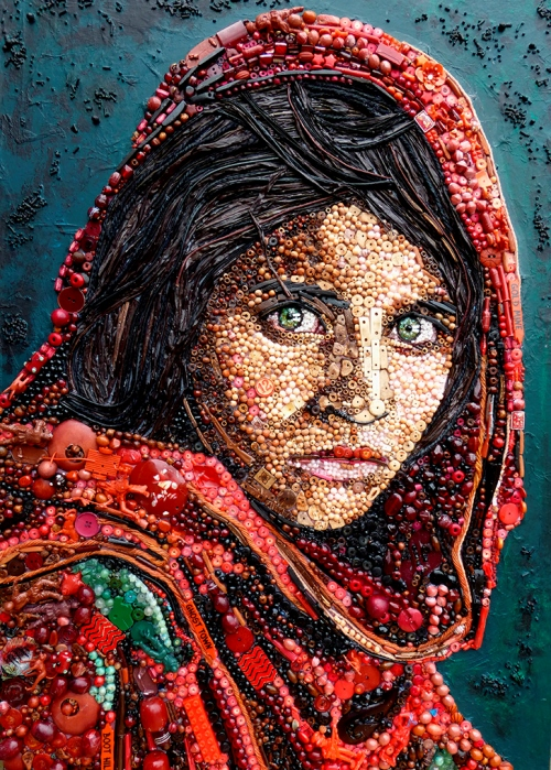 Afghan girl. Jane Perkins junk art