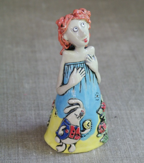 Alice from the collection 'Alice in Wonderland'. One of a kind ceramic doll. Hand molding, high temperature firing, engobes, glazing