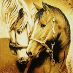 Two horses. Amber painting by Galina Baltamber, Kaliningrad