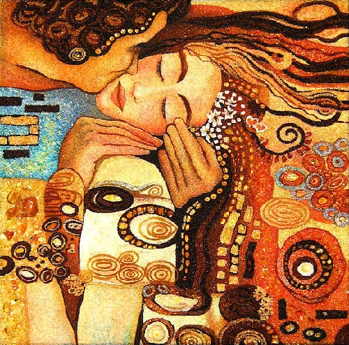 Kaliningrad Amber painting Kiss, inspired by Gustav Klimt