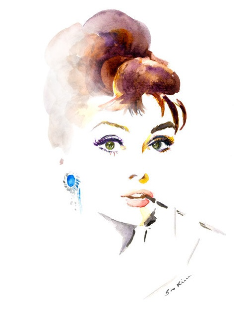 Audrey Hepburn Breakfast at Tiffany's. Watercolor painting by Soo Kim