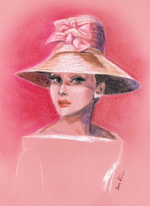 Pink Hat. Audrey Hepburn. Pastel. Soo Kim pencil drawings