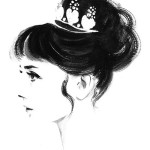 Gorgeous actress Audrey Hepburn, Profile portrait. Black and White Ink Watercolor by Soo Kim