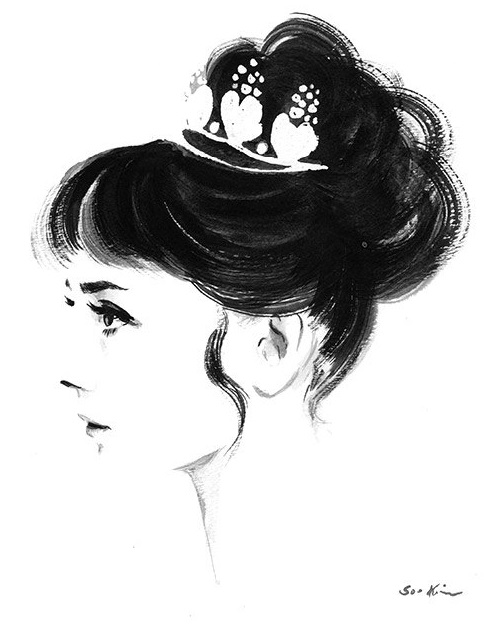 Audrey Hepburn Profile - Black and White Ink Watercolor by Soo Kim