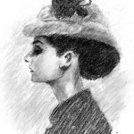 Charcoal Drawing. Audrey Hepburn in Black and White