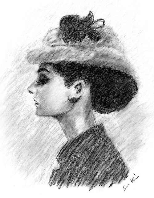 Audrey Hepburn in Black and White Charcoal Drawing