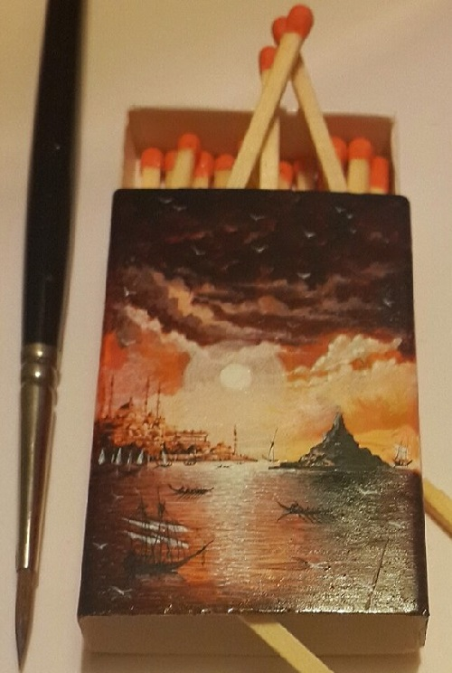 Beautiful miniature painting on matchbox