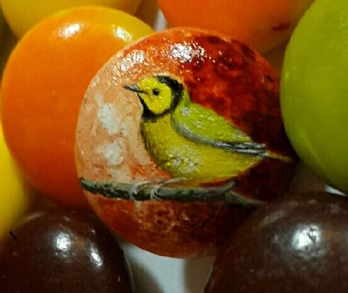 Bird, miniature painting on  M & M's candy