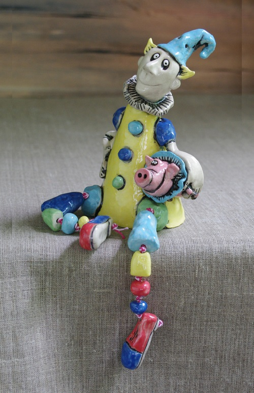 Clown and Piggy. Author ceramic doll. One of a kind. Pottery. Manual molding