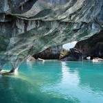 The waters of fantastic hues and colors. Marble Cave in Chile