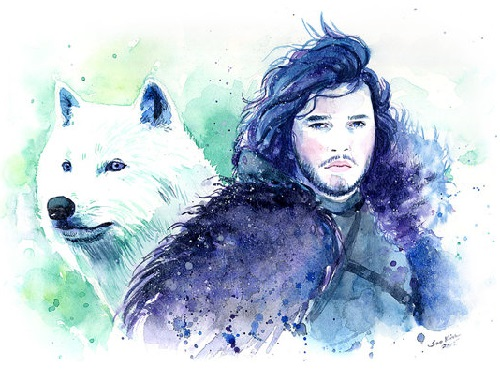 Game of Thrones Jon Snow and Ghost - Watercolor