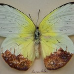 Landscape micro painting on butterfly wings