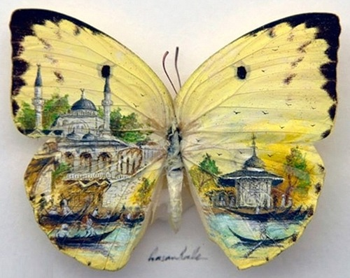 Istanbul - micro painting on butterfly wings