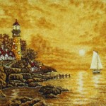 Lighthouse and a sailboat. Kaliningrad Amber painting