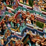 Covered with thousands of stone figures of animals, gods and demons painted in bright hues