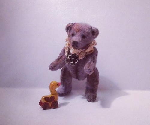 Cute Teddy Bear with a duck, handmade toys by Victoria Chernysheva