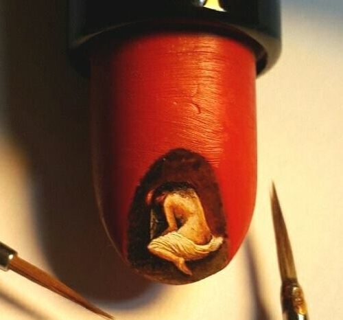 Miniature painting on a lipstick