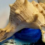"Sea shell as canvas for miniature painting ""Twilight"". Hasan Kale Mıcro Art"