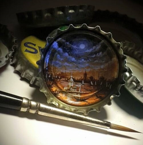 Painting on a bottle cap
