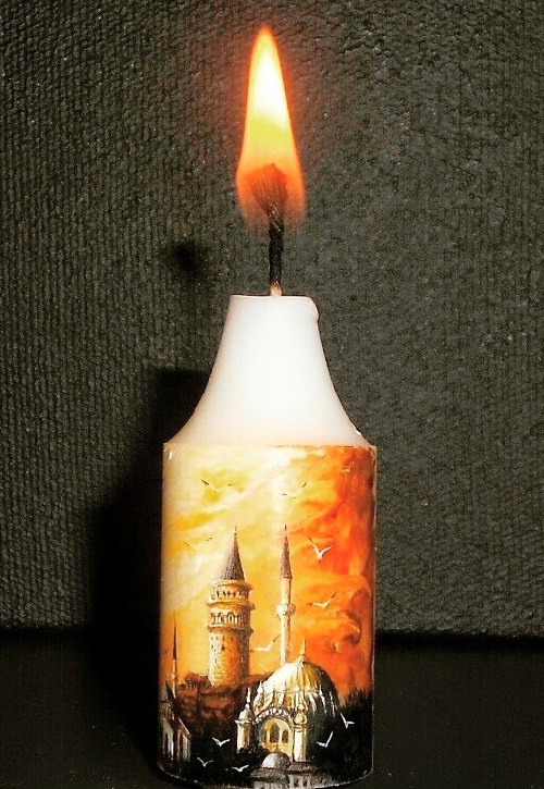 Painting on a candle