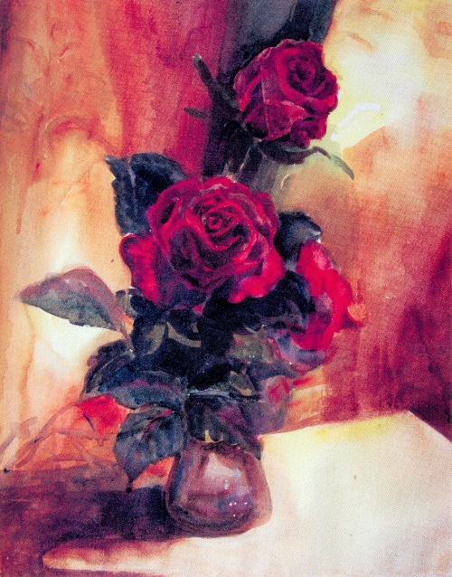 Red roses. Russian painter Olga Rotko