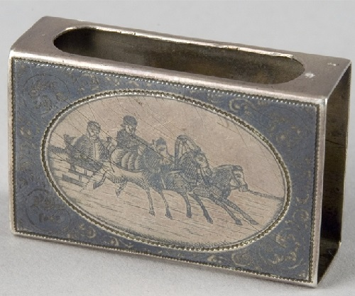 Troika. Silver matchbox holder. Moscow, the end of 19th century