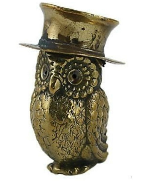 An owl in a hat. Vintage matchbox holder