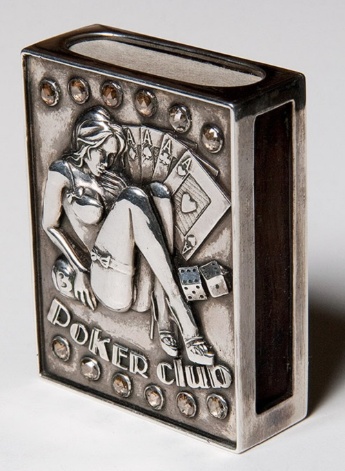 Poker club. Vintage matchbox holder