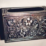 Floral motif. Vintage matchbox holder
