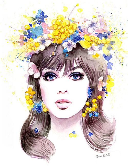 1960s Fashion Model Jean Shrimpton. Watercolor. Fashion illustration