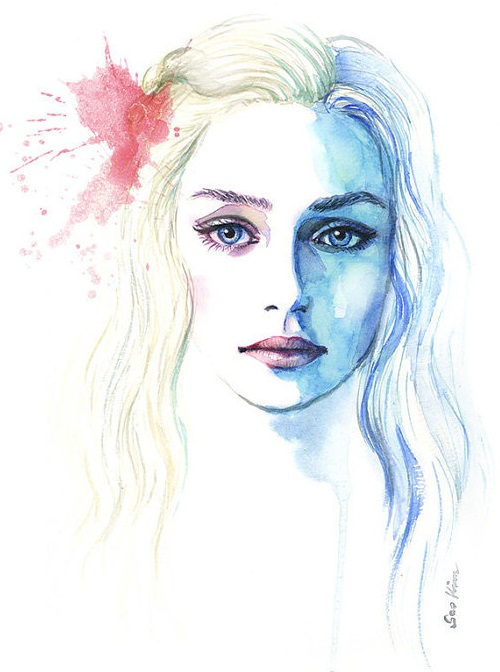 Game of Thrones – Daenerys Targaryen. Watercolor painting