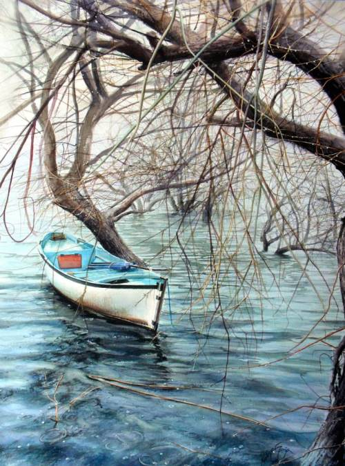 A Boat under willows
