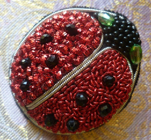 Brooch Beetle Ladybug gold thread embroidery on black velvet, black faceted beads. Evdokiya gold embroidery art