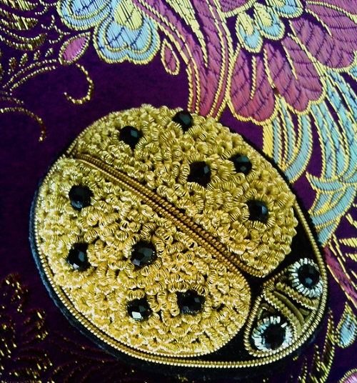 Beetle Ladybug brooch, gold thread embroidery on black velvet, black faceted beads