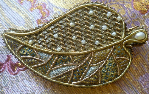 Brooch Golden Autumn, gold thread embroidery