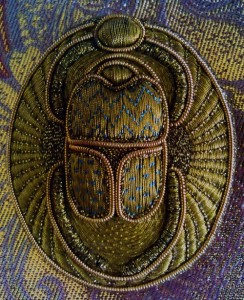 Beetle scarab gold thread embroidery