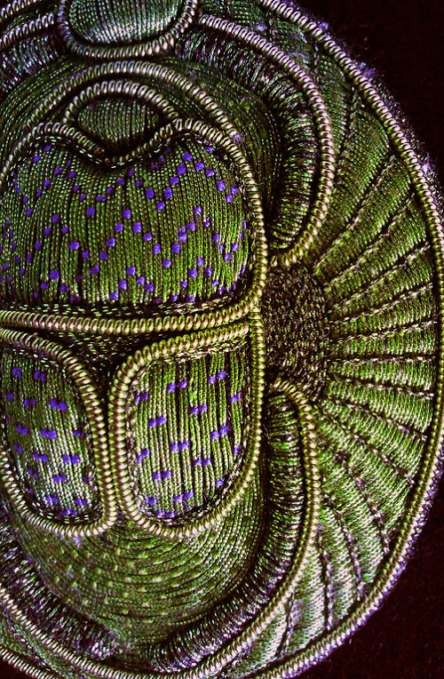 Beetle scarab, gold thread embroidery detail