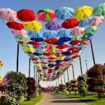 Bright ceiling of colorful umbrellas – talented designers work