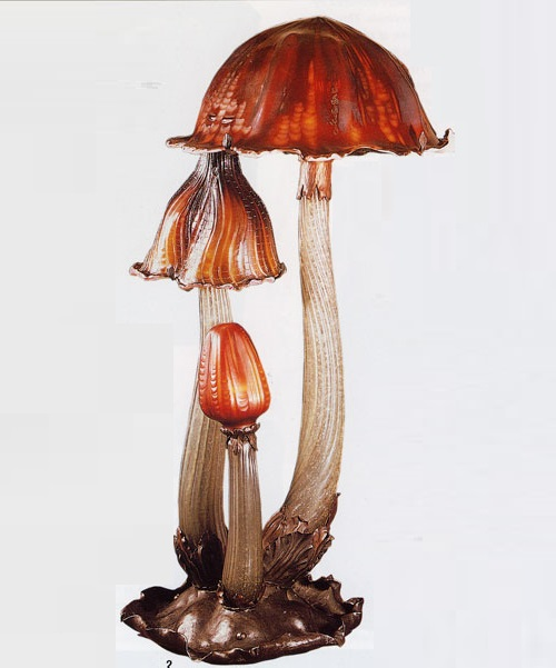 Mushrooms lampstand. Emile Galle Art